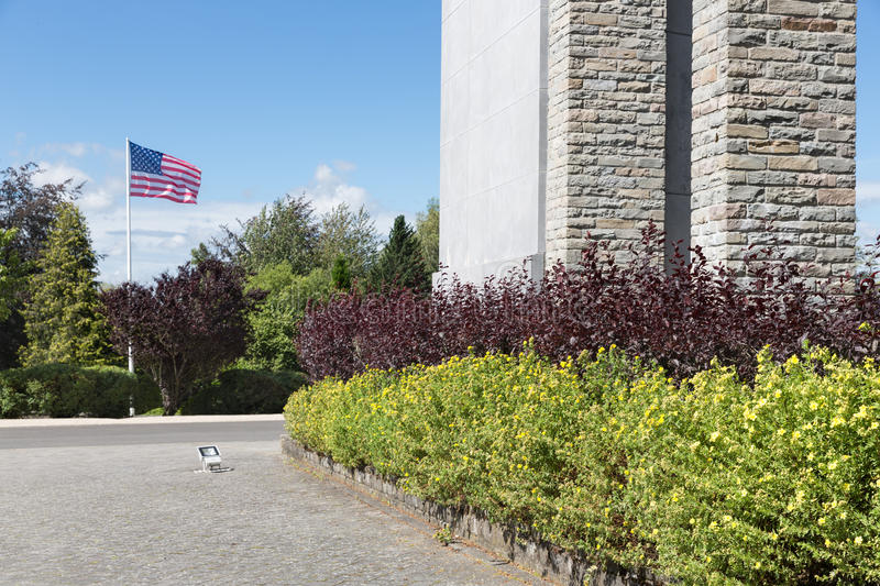 American flag Stars and Stripes at Bastogne WW2 Memorial, Belgium stock photography
