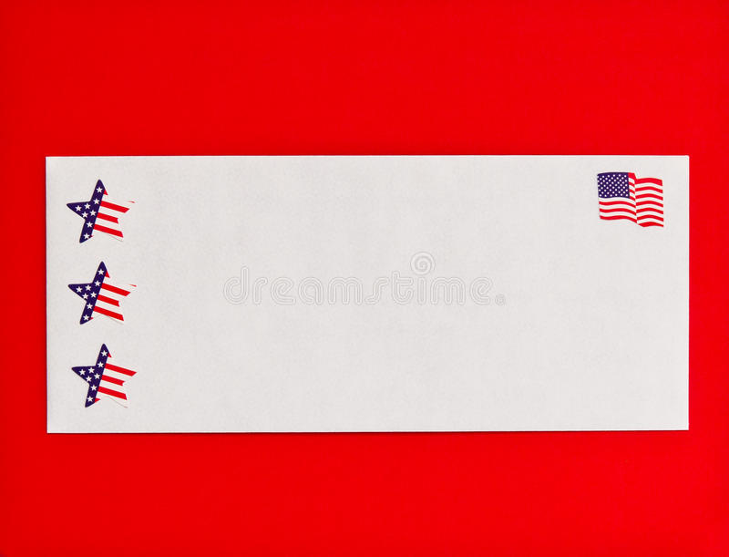 American flag and stars symbols on mail envelope royalty free stock photo