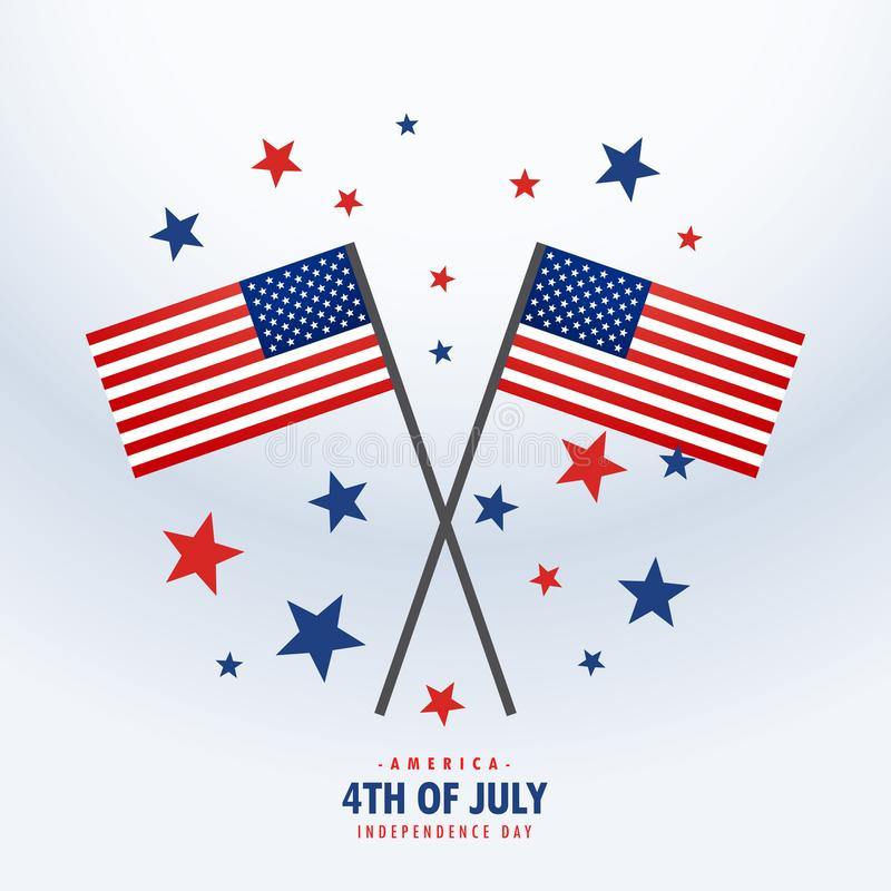 American flag with stars vector illustration