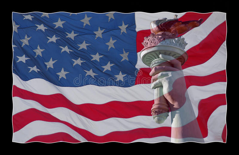 American flag and statue. An American flag in red white and blue with the torch from the Statue of Liberty stock photos