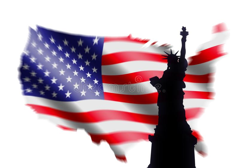 American Flag and Statue of Liberty. Over White royalty free illustration
