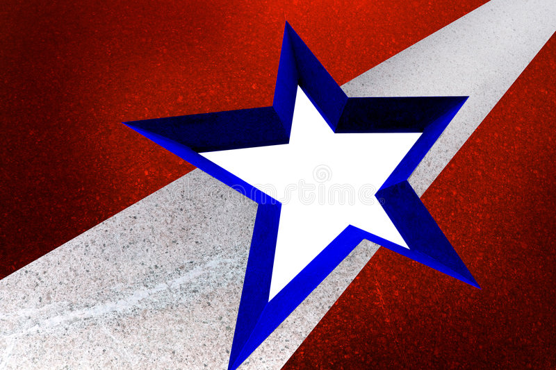 American Flag Style Star In Granite Frame Royalty Free Stock Photography