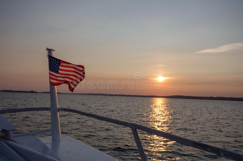 American Flag in Sunset royalty free stock image