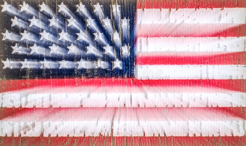 American flag on a t-shirt of a us army soldier. Zoom on long exposure. Selective focus.  royalty free illustration