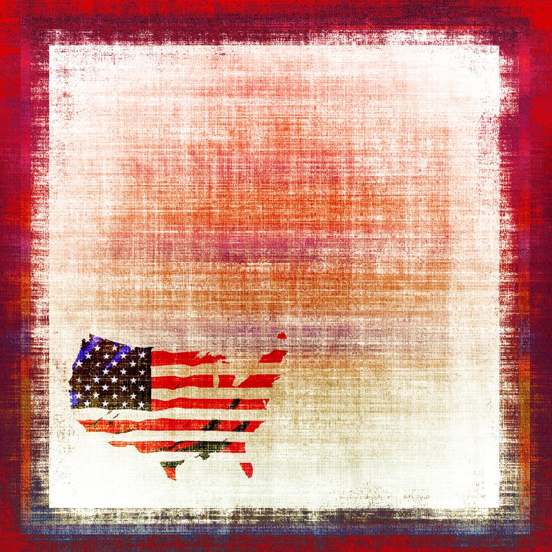 American Flag Tapestry. Canvas tapestry background with the map of America shaped into the United States Of America flag in red, white, and blue all in vintage