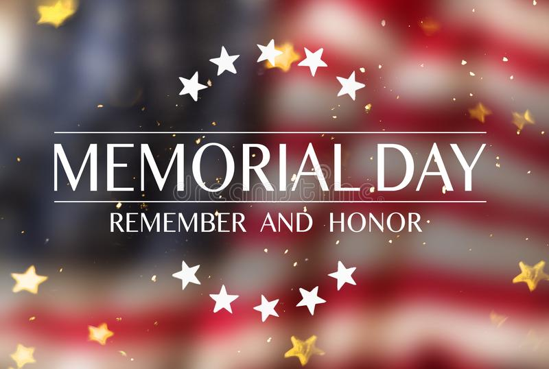 American flag with the text Memorial day. Celebration of all who served stock photo