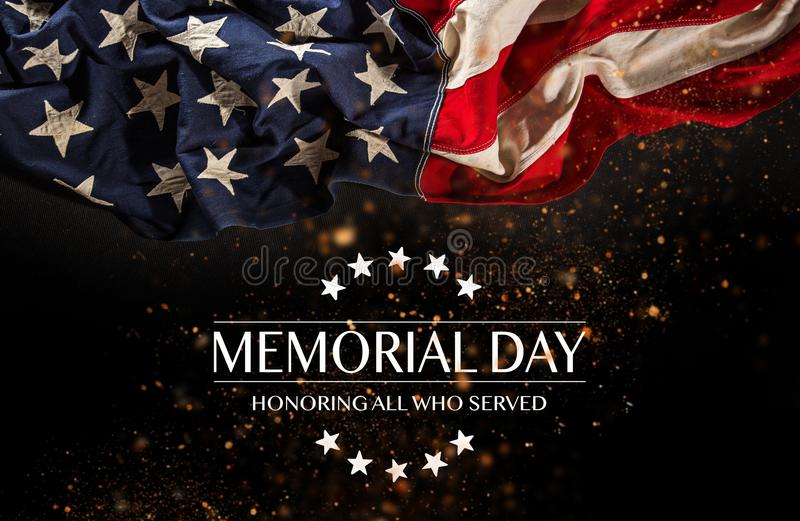 American flag with the text Memorial day. Celebration of all who served stock photography