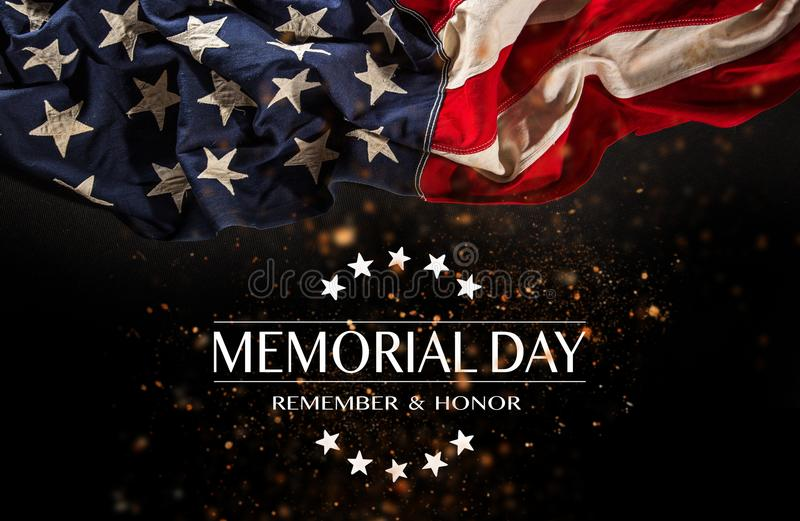 American flag with the text Memorial day. Celebration of all who served royalty free stock photos