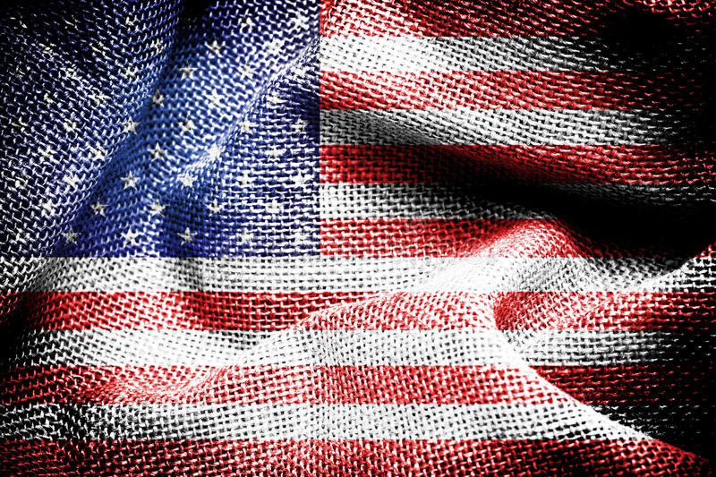 American flag. Texture of sackcloth with the image of the American flag stock photos