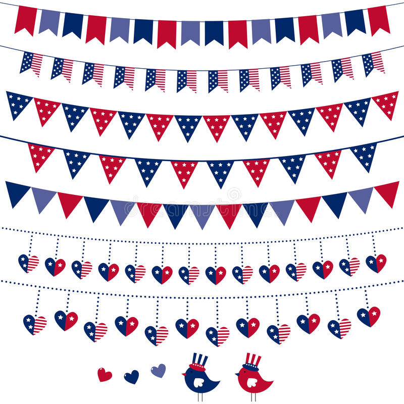 Download American Flag Themed Bunting Set Stock Vector - Illustration of pennant, independence: 24246681