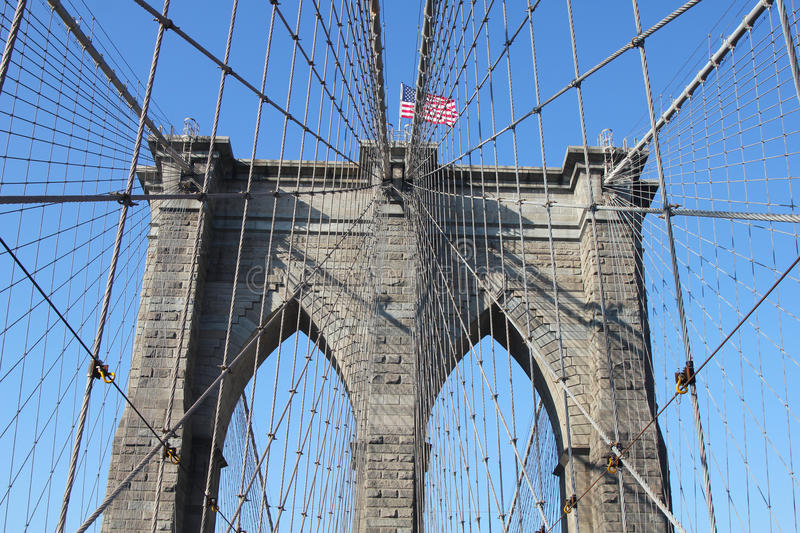 American Flag On Top Of Famous Brooklyn Bridge Editorial Image