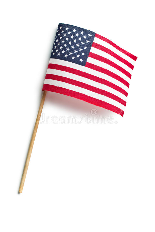 American flag. Top view of american flag on white background stock image