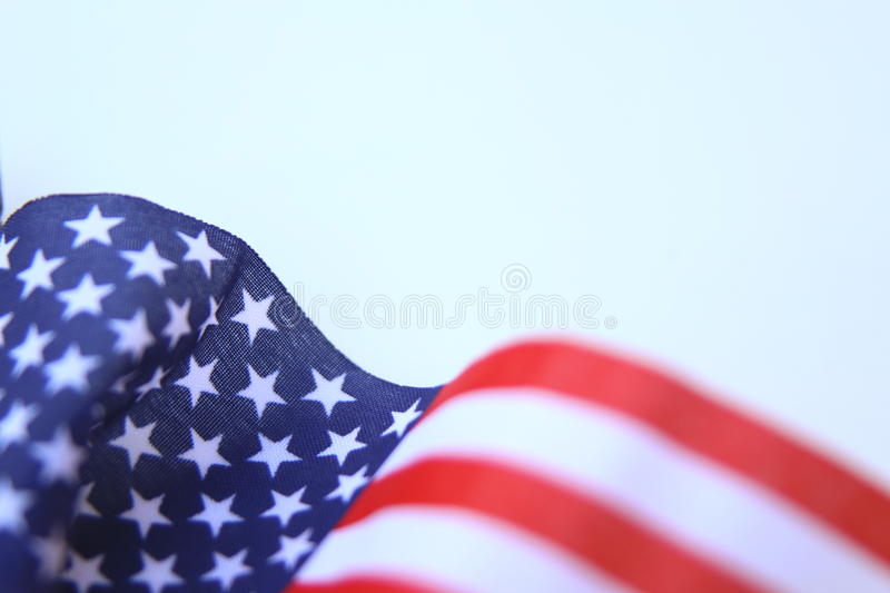American flag U.S. Flag blowing. In a strong wind isolated royalty free stock image