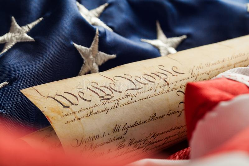 American Flag. US Constitution Patriotism USA Flag History Document royalty free stock photo