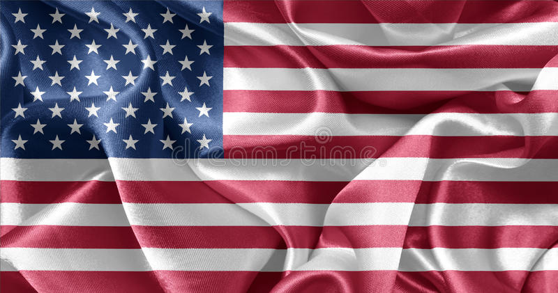 American flag USA. American flag blowing in the wind USA royalty free stock photos