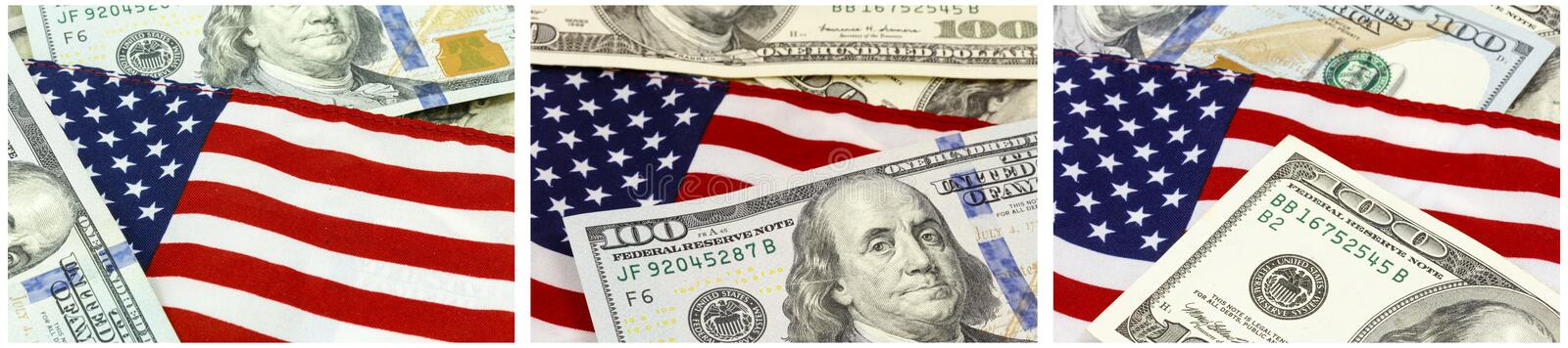 American flag USA currency collage stock illustration