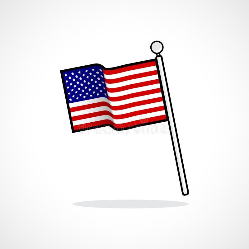 American Flag Usa Flag Waving Icon Symbol Stock Vector
