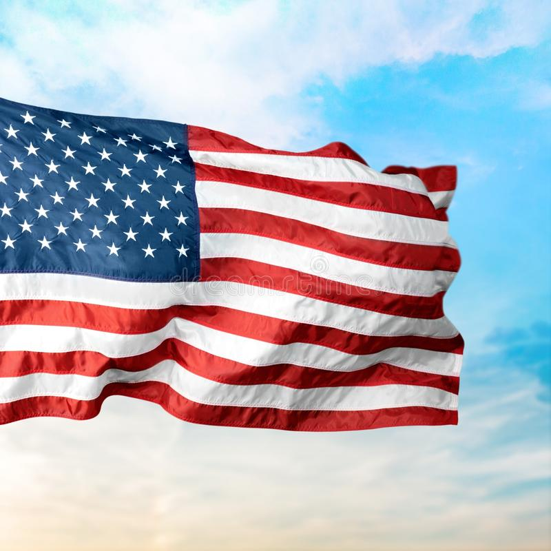 American Flag. Flag USA Sky Flying National Flag Cloudscape stock photo