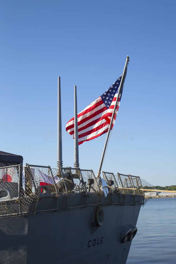 American flag at the USS Cole guided missile destroyer of the United States Navy during Fleet Week 2014. NEW YORK - MAY 25 American flag at the USS Cole guided stock image
