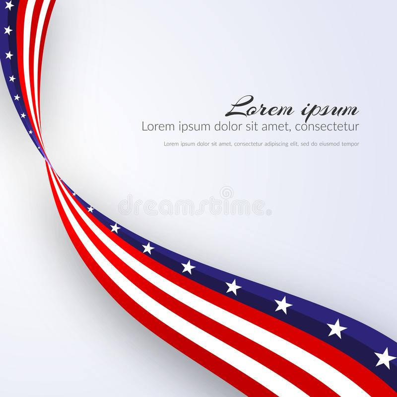 American Flag Vector background for Independence Day and other events Patriotic background with stars and smooth wavy lines royalty free illustration