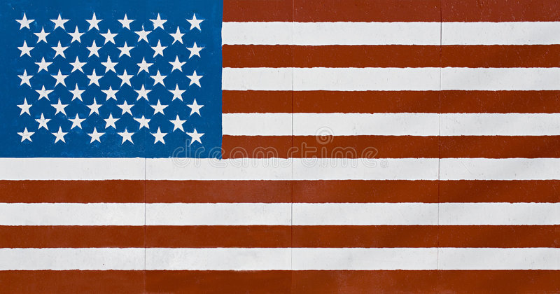 American flag on wall stock image