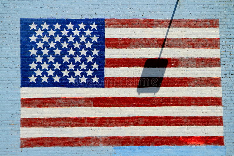 American flag on wall royalty free stock photos