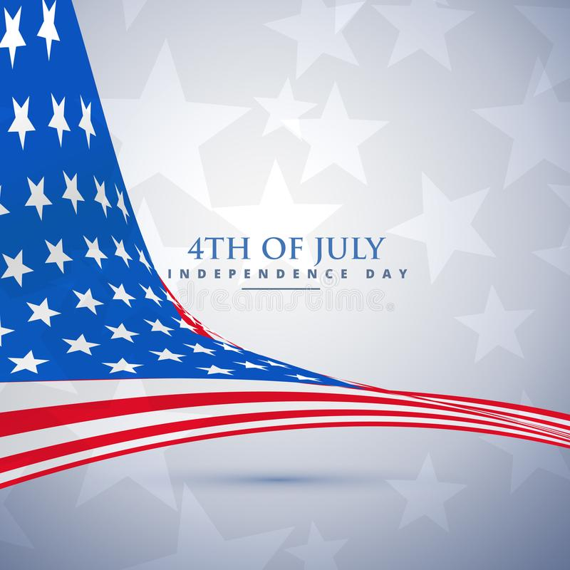 American flag in wave style. 4th of july background vector illustration