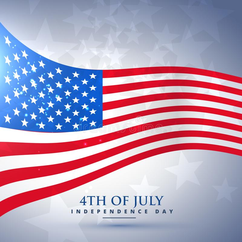 American flag in wave style stock illustration