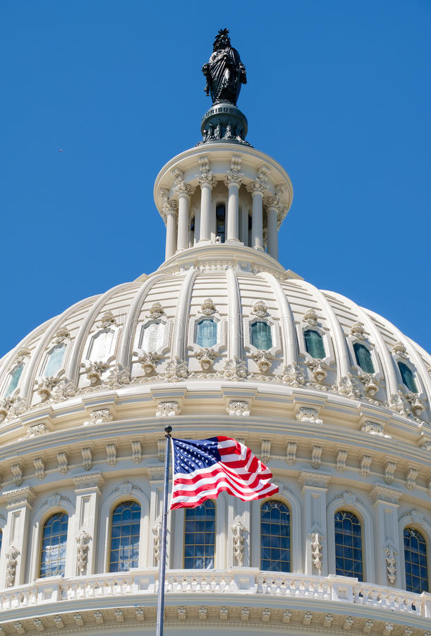 The American Flag waves in fron of the Capitol building in Washi. The US National Flag waves in fron of the Capitol building in Washington D.C stock image