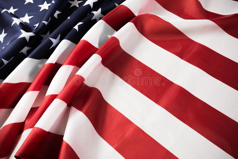 American flag waving background. Independence Day, Memorial Day, Labor Day - Image.  stock photo