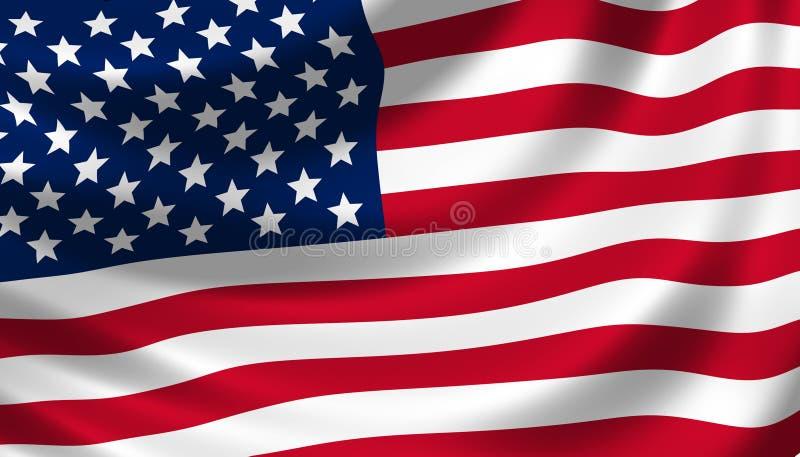 American flag waving detail royalty free illustration