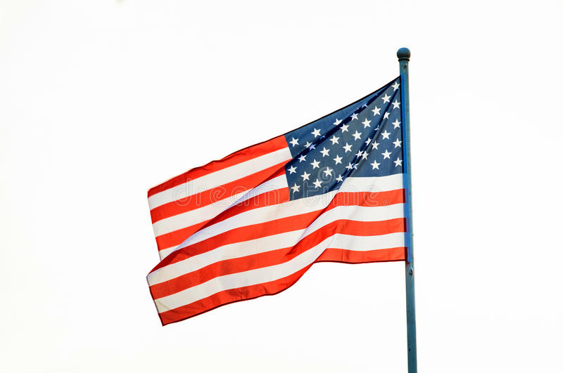 American flag waving on flagpole royalty free stock image