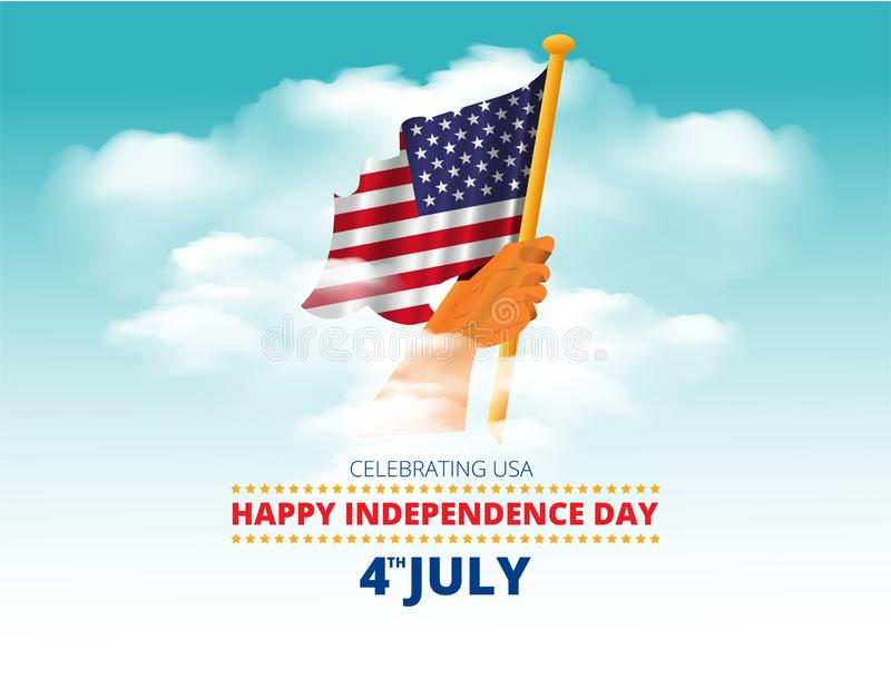 American flag waving in man`s hand in blue sky clouds and 4th of july american independence day celebration message. vector illust vector illustration