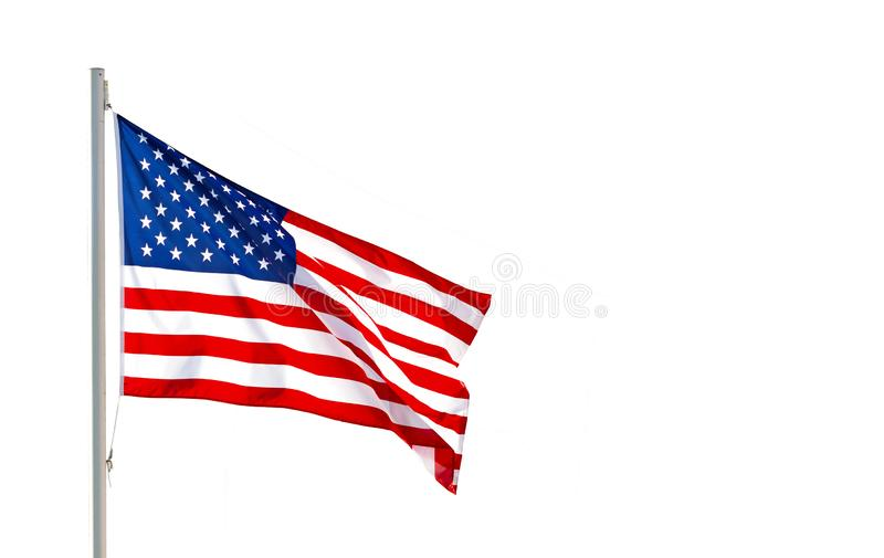 American flag waving in the wind isolated on white background with clipping path royalty free stock photography