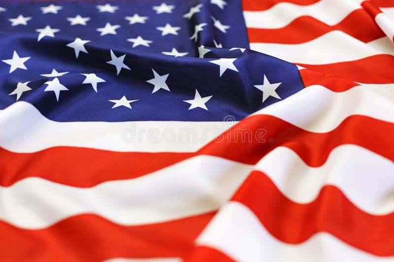 Flag USA, national symbol, independence Day. patriotic, waving, close up. American flag waving in the wind. The national symbol of the USA. independence Day royalty free stock photos