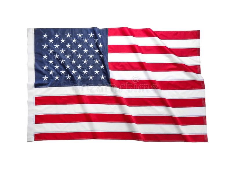 American flag on white background. National symbol. Of USA royalty free stock photos