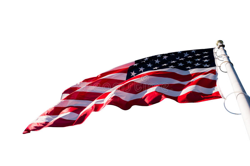 American flag on white. American flag waving isolated on a white background royalty free stock image