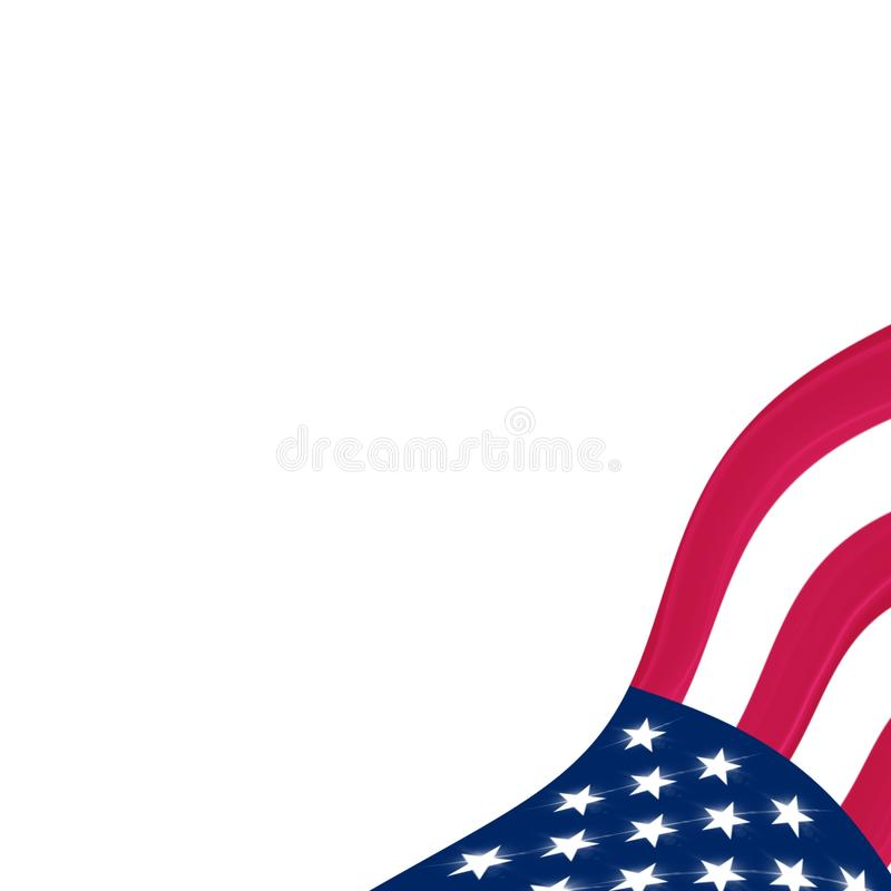 American flag with Wind in corner with bright stars royalty free stock photo
