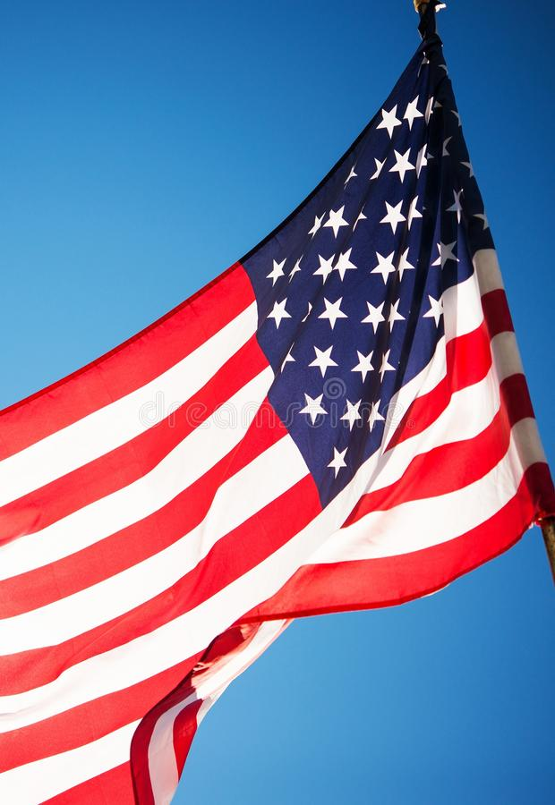American Flag on Wind stock photos
