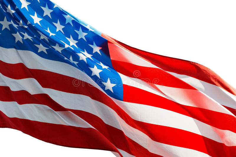 American flag in the wind on white background. The American flag in the wind on a white background royalty free stock images