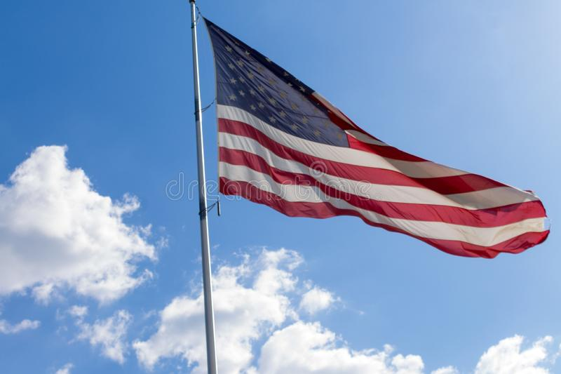 American Flag on a Windy Day royalty free stock photos