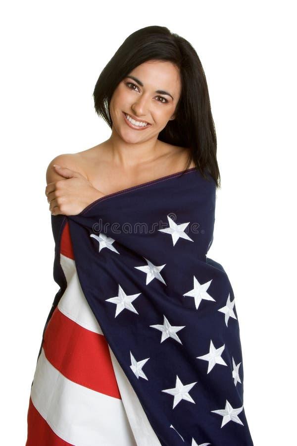 American Flag Woman. Beautiful woman wearing american flag stock photos