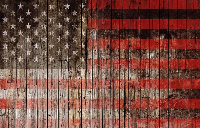 American Flag on Wood. American Flag Painted on Wood High Resolution Background royalty free stock photography