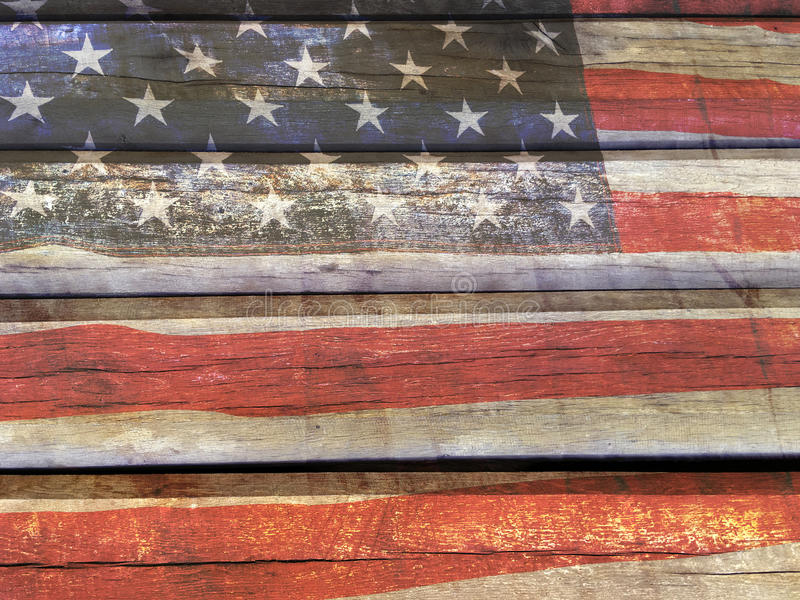 American flag on wood. American flag painted on the old wooden wall stock photography