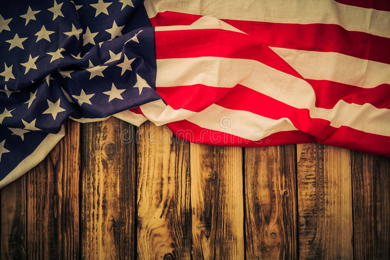 American flag. On wooden background stock photo