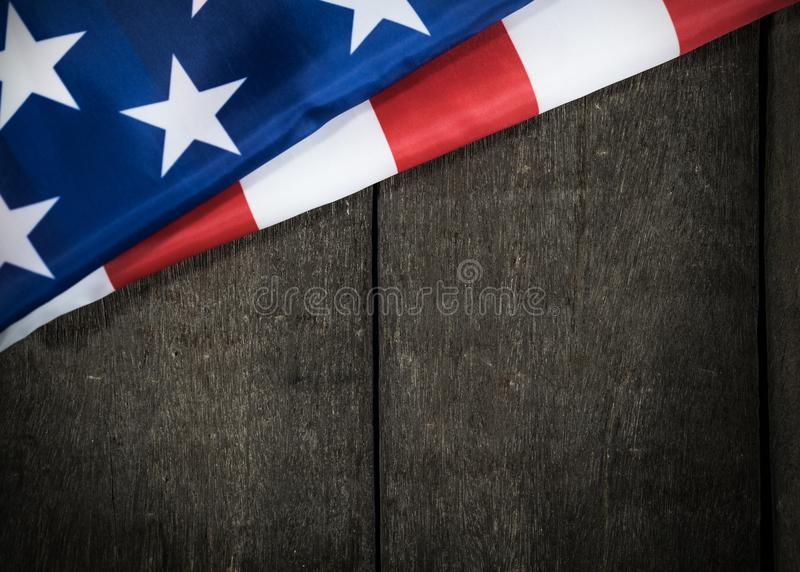 American flag on wooden for Memorial Day or 4th of July stock photos