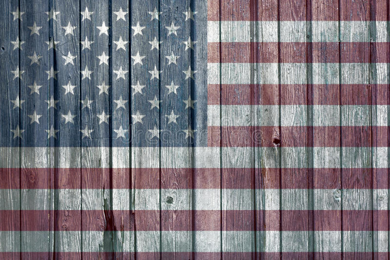 American Flag. On wooden surface royalty free stock photo