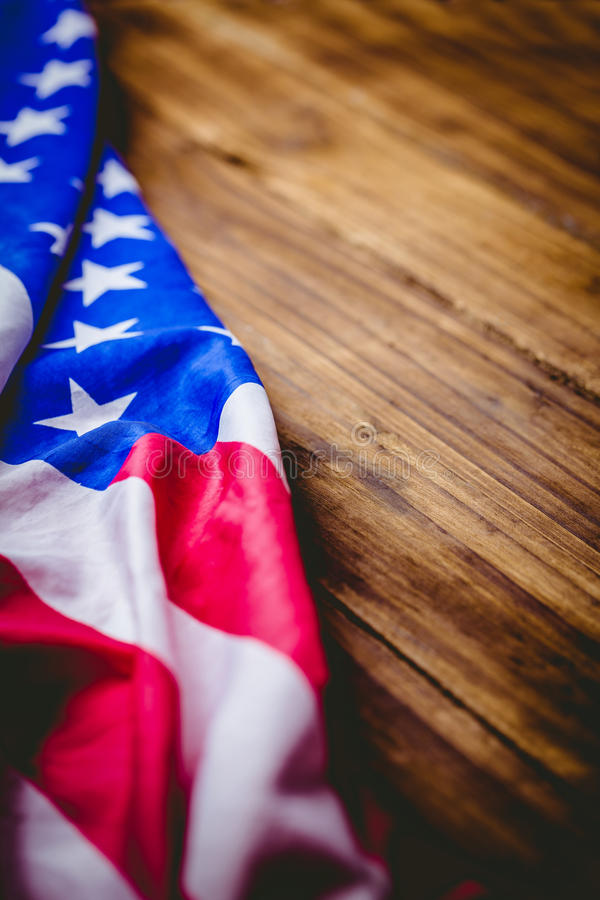 American flag on wooden table. Shot in studio stock photos