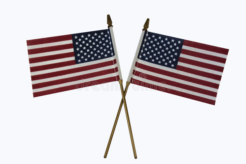 American Flags. Two Crossed American Flags with poles stock photos