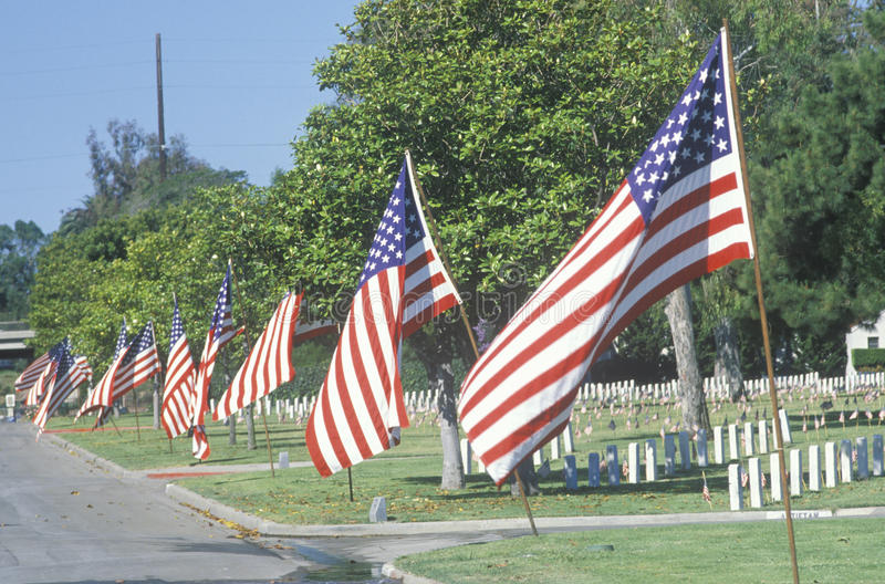 American Flags. Los Angeles National Cemetery, California stock photo